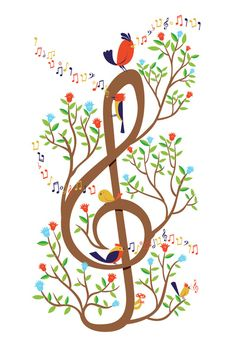 Spring music clef